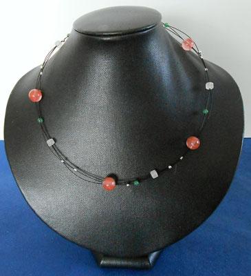 Art.Nr.03917 Erdbeerquarz, Aventurin und Bergkristall  45cm  (19.-)
