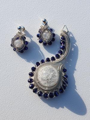 """Art.Nr.: 16417 Anhänger """"Witchhat"""" Große Bergkristallperle mit tschechischen Glasperlen in Sterlingsilber (€ 99.-)   Die Ohrringe sind in der Sektion Ohrringe zu finden. Sparpreis bei Setkauf möglich!"""