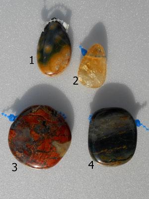 1: Ozeanachat40x25mm   2:Citrin 30x20mm   3: Achat 43x40mm   4: Achat 40x32mm   Alle Steine sind gebohrt.