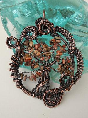 "Art.Nr. 08217 Anhänger ""Tree of Life opulent"" Kupfer mit Jaspissplittern. Gesamtlänge 8cm (€ 49.-)"