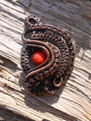 """Art.Nr.01517 Anhänger """"Nicole"""", Kupfer mit Koralleperle, Länge 3cm (verkauft)"""