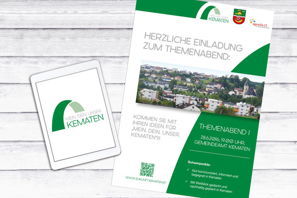 Logo, Folder MEIN. DEIN. UNSER KEMATEN – Gemeinde Kematen an der Krems