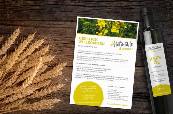 Hofmühle Gruber - Logo-, Flyer- und Etikettengestaltung