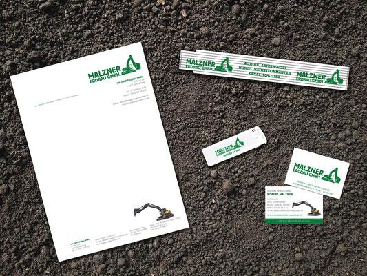 Briefpapier, Werbemittel, Visitenkarten – Malzner Erdbau GmbH