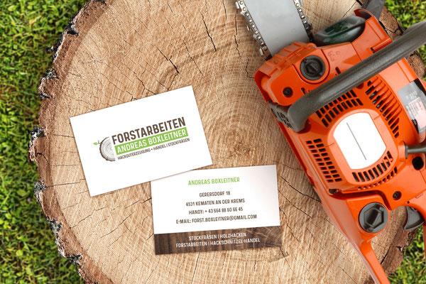 Forstarbeiten Andreas Boxleitner - Logo- und Geschäftsdrucksortengestaltung