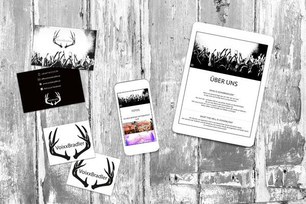 Webseite, Visitenkarten, Aufkleber – Voixxbradler
