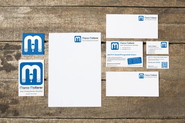 Logo, Visitenkarten, Aufkleber, Geschäftsdrucksorten, Inserate –Marco Molterer Toner - Druckerpatronen - Büroartikel