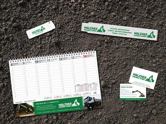 Kalender, Werbemittel, Visitenkarten – Malzner Erdbau GmbH