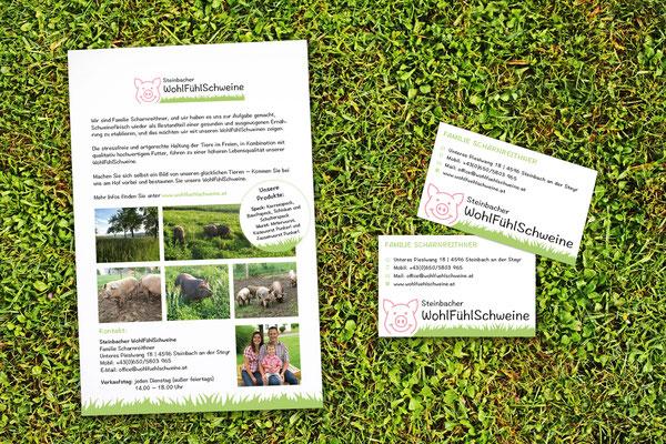 Flyer, Visitenkarten – Steinbacher WohlfühlSchweine