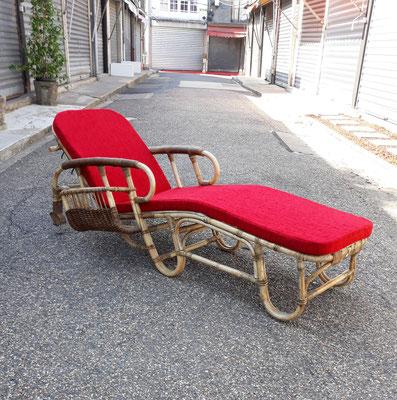 Adrien Audoux & Frida Minnet, chaise longue en rotin, c. 1950