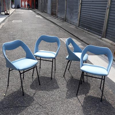 Louis Paolozzi, suite de 4 chaises pour ZOL, c. 1957