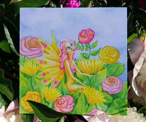 Feenwelt   Nr. 2 Das Blumenmeer (quadratisch)15x15 CHF 6.-