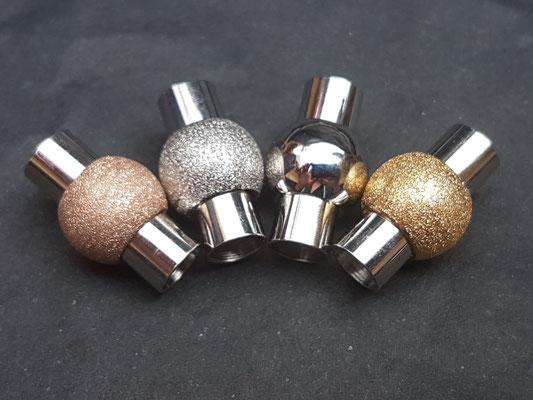 Verschluss Glitzer rose 1x, gold 3x und silber 1x  jeweils 8,00€, Verschluss Silber 5,00€ (Edelstahl)