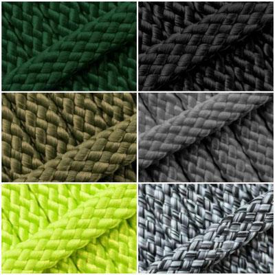 Links: Tanne, Oliv, Pistazie --- Rechts: Schwarz, Grau, Black&White