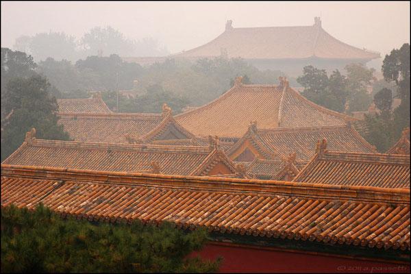 Forbidden City's roofs in the fog, Beijing