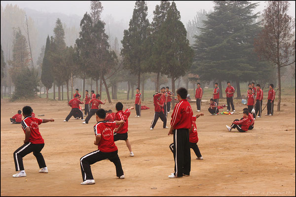 Training at Shaolin Temple's fields