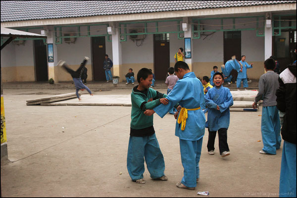 Children training at the Kung fu schools at Shaolin Temple