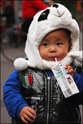 Tha panda hat! Nearby Houhai lake, Beijing
