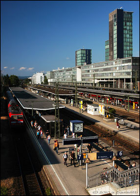 Freiburg Hauptbahnhof and the solar tower on the right