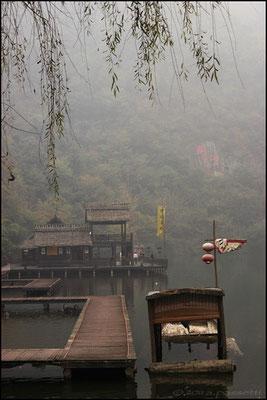 The nice wood footbridge at Carefree Valley, Wudangshan