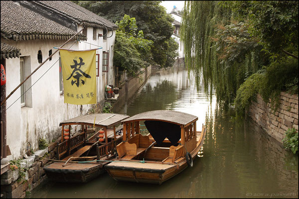 Typical boats in the channels of Suzhou