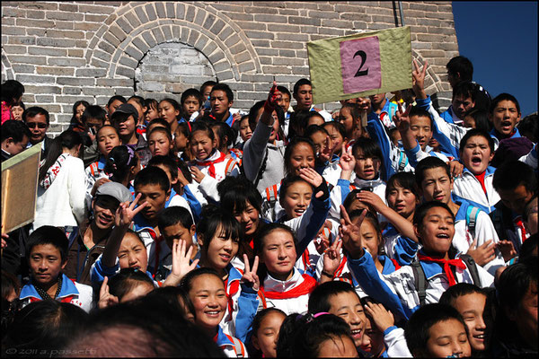 Schoolchildren visiting the Great Wall at Badaling, 70 km north of Beijing