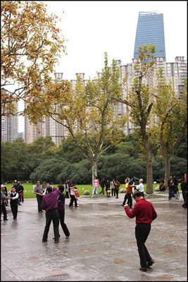 Dancing at Zhongshan Park, Shanghai. It's really stunning admiring them when dancing!