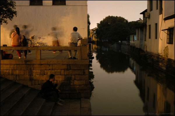 "Dusk along a channel in Suzhou, called also ""Venice of the East"""