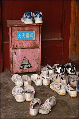Shoes out of the dormitories at the kung fu schools, Shaolin Temple