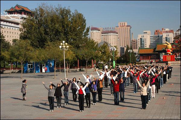 A big group enjoying dancing in Lianhuachi Park, Beijing