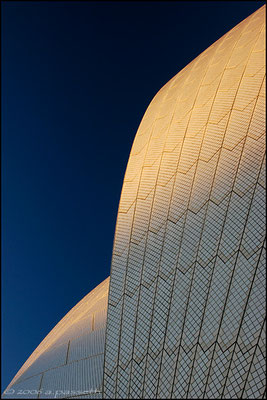 Opera House's sails detail captured at sunset, Sydney