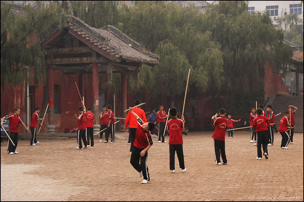 Stick training at the Kung fu schools at Shaolin Temple