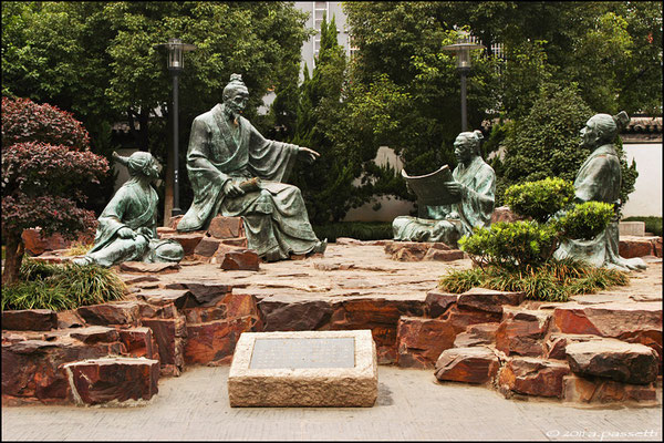 Nice sculptures of disciples beside the Confucian Temple, Suzhou