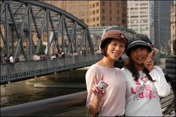 Passersby and Waibaidu Bridge, Shanghai