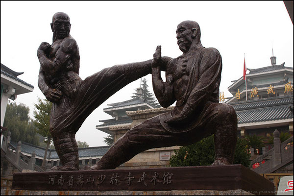 The graceful kung fu sculpture at the Shaolin Temple complex, Songshan