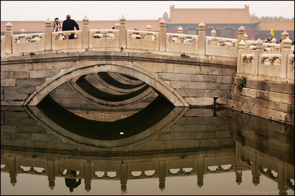 The five marble bridges on the channel at the Forbidden City, Beijing