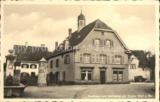 Historische Ansicht; Hotel Krone in Weil am Rhein