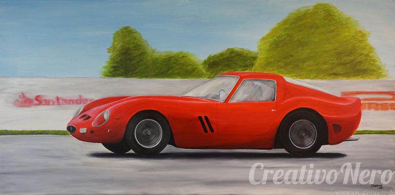 "Ferrari, ""La macchina rossa"", 100x50 cm, Acryl auf Leinwand"