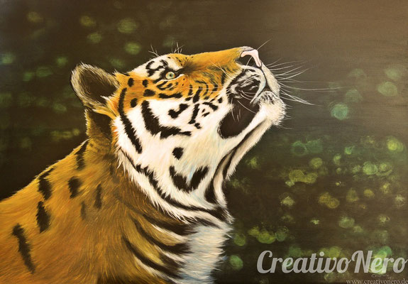"Tiger, ""Ghost"", 80x60 cm, Vorlage: Wildlife Reference Photos, Acryl auf Leinwand"