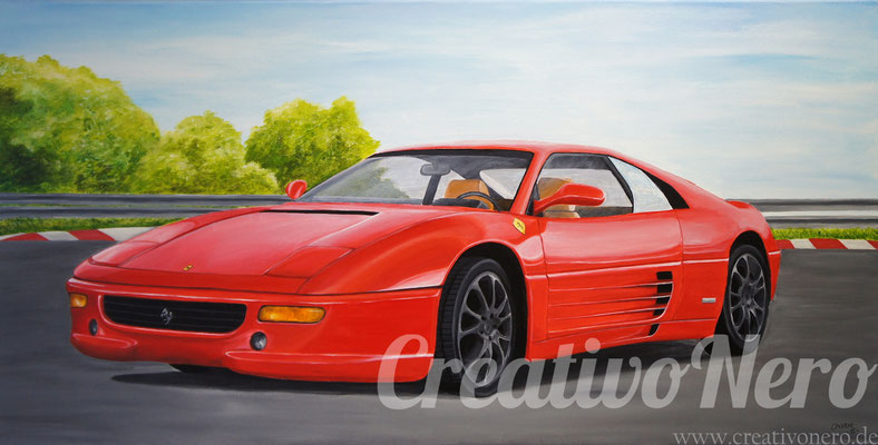 "Ferrari 348, ""Red Dream"", 100x50 cm, Acryl auf Leinwand"