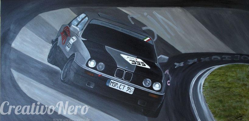 "BMW E30, ""Beamer"", 100x50 cm, Acryl auf Leinwand"