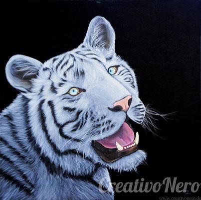"""Weißer Tiger, """"Hypnotic"""", 80x80 cm, Vorlage: Wildlife Reference Photos, Acryl auf Leinwand"""