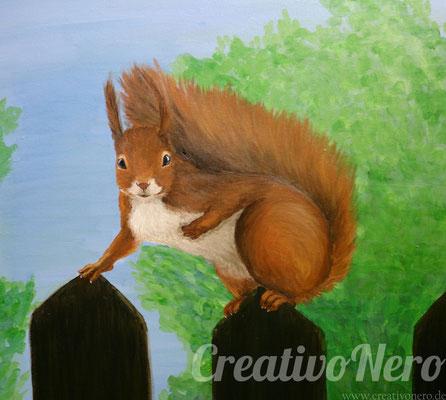 """Eichhörnchen"", 40x40 cm, Acryl auf Leinwand"