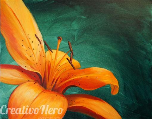 Feuerlilie, 50x40 cm, Acryl auf Leinwand