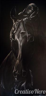 "Pferd in Schwarz-Weiß, ""Impressive"", 50x100 cm, Acryl auf Leinwand"