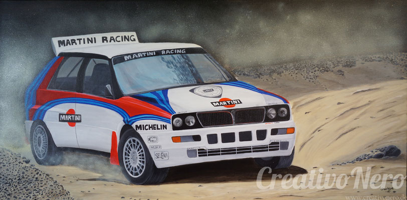 "Lancia Delta bei der Rally, ""Wild Thing"", 100x50 cm, Acryl auf Leinwand"