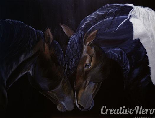 """Pferde, """"Friendship"""", 100x80 cm, Acryl auf Leinwand"""