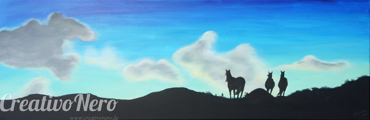 "Pferde in den Bergen, ""Sehnsucht"", 90x30 cm, Vorlage: Christiane Slawik, www.slawik.com"