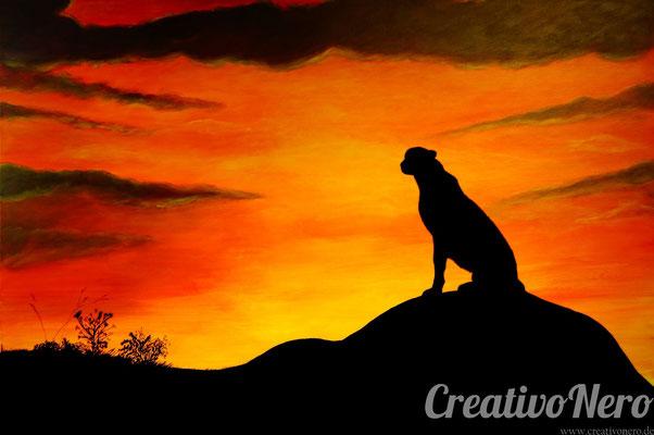 "Gepard in der Savanne Afrikas, ""Freedom"", 120x80 cm, Acryl auf Leinwand"