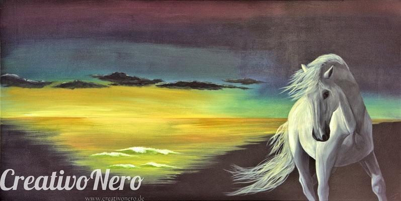 """Pferd im Sonnenuntergang, """"Sonnentänzer"""", 120x60 cm, Acryl auf Leinwand"""